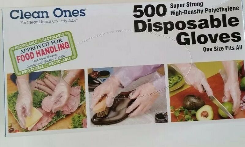 CLEAN ONES 500 COUNT DISPOSABLE POLY GLOVES ONE SIZE FITS ALL FOOD HAND CLEANING