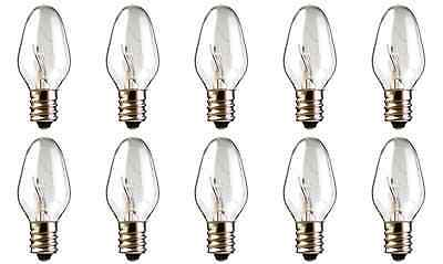 Box of 10 Nightlight Bulbs 15C7, Clear, 15 Watt, 120 Volt, E12 Candelabra Base