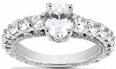 3.59 ct Diamond Engagement Ring 18k Gold Band, 2 ct Oval shape GIA  G VS1 #111