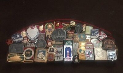 Lot of 49 Russian Military Pins, Olympics, 3 Patches and Authentic Military Cap