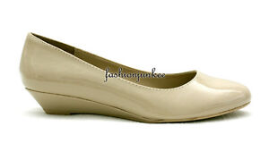 NUDE-MINCE-S-Patent-Round-Toe-Kitten-Wedge-Low-Heel-Shoes-Shiny-New-5-5-10-SIZE