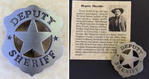 Deputy Sheriff Old West Style Badge, silver, western, Robert Bob Olinger
