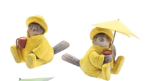 Creative Co-Op Resin Bird Figurines Sparrows in Raincoat 1 w/Umbrella Set of 2