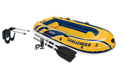 Intex Challenger 3 Boat and Oar Set Inflatable with Motor Mount Kit