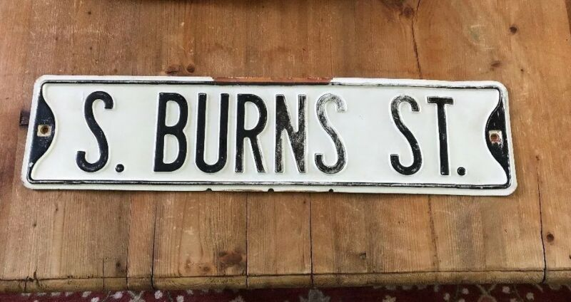 Antique  Burns Street metal Sign