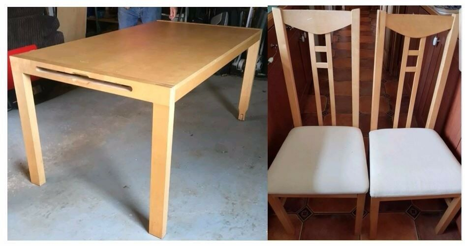 Ikea Solid Wood Extending Table & 6 Chairs FREE DELIVERY 552