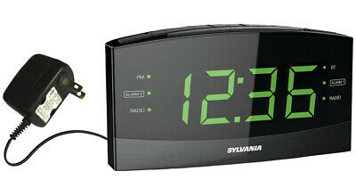 Sylvania 1.8 Dual Alarm Digital Clock with Bluetooth, AM/FM Radio SCR1989BT
