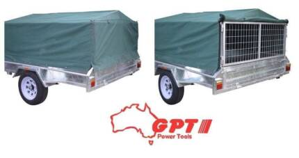 NEW GPT CAGED 8X5 900MM TRAILER COVER, GREEN/GREY WOVEN CANVAS Campbellfield Hume Area Preview