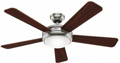 Ceiling Fan 52 in. 26W Light 5-Reversible Blades Remote Control Brushed Nickel