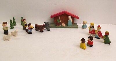 Nativity Set Christmas Jesus Small Wood Vintage