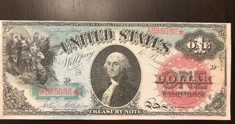 "Reproduction $1 United States Note 1869 Washington ""Rainbow Note"" Currency Copy"