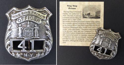 Sing Sing Prison Officer Badge, repro, New York, jail, guard