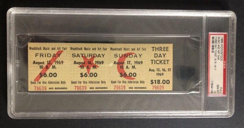 Original Vintage Woodstock Concert Ticket 3 Day Pass PSA graded Mint 10 1960's