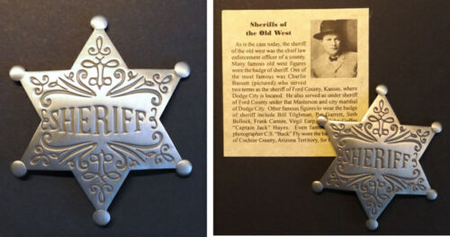 Old West Style Sheriff Badge, western, star, silver, Charlie Bassett