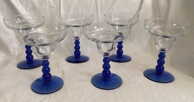 6 Libbey Glass Metropolis Margarita Glasses Clear Cup w/ Beaded Cobalt Blue Stem