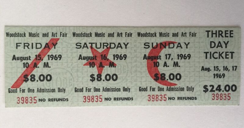 Woodstock 1969 3-Day Ticket Unsed