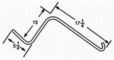 Tonutti Lh Wheel Rake Tine 5.25 X 13 X 17.25 Curved End W 0.250 Thick Wire