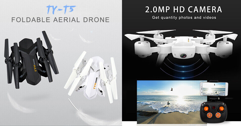 RC Folding Drone T5 Quadcopter WIFI FPV Camera 2.4G 4CH Black, UK