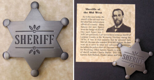 Old West Style Sheriff Badge, western, six-pointed star, silver, T. Jeff Carr