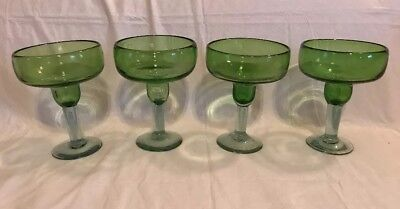Set of 4 Green Bowl Clear Stem Glassware Margarita Glasses Handblown Bubble
