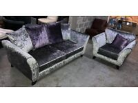 DFS crushed velvet silver and purple 3 seater sofa and armchair