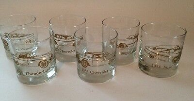 Classic Cars Old Fashion On The Rock Glasses Set of 6 1953-1957 Gold Trim