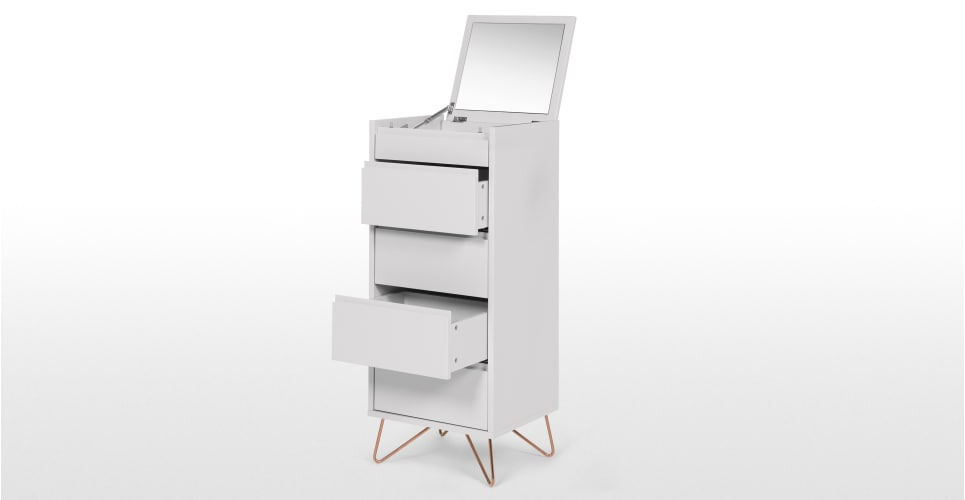 Elona Vanity Chest Of Drawers For Grey And Copper W 45cms H 110