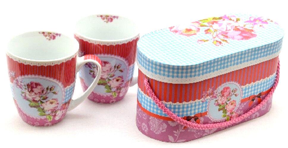 PPD Tassen 2er-Set in Geschenkbox Kaffeetassen Becher IHR  Roses Pozellan