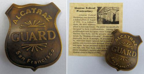 Alcatraz Federal Prison Guard Badge, San Francisco, penitentiary, antiqued brass