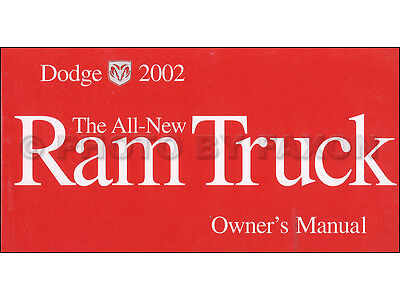2002 Dodge Ram 1500 Pickup Owners Manual Original OEM Truck Owner Guide Book