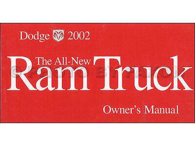 2002 Dodge Ram 1500 Pickup Owners Manual Original OEM Truck Owner Guide Book