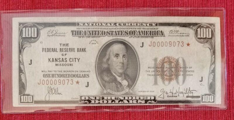 1929 $100 **STAR** Note Federal Reserve Bank Of Kansas City Mo