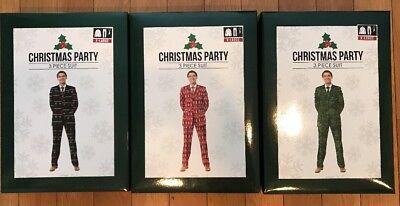 NIB 3 pc Ugly Christmas Novelty Party Suit Men's XL Green Black Tie Jacket Pants