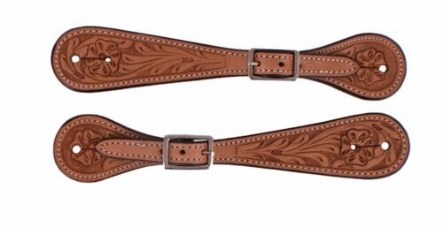 Western Saddle Horse Adult Tooled Leather Spur Straps for your Boots