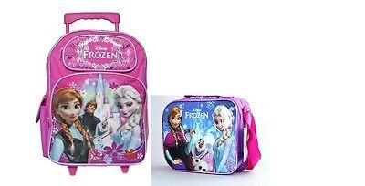 "Disney Princess Frozen Elsa Anna 16"" Rolling backpack & Lunc"
