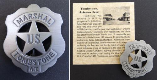 Tombstone Arizona Territory U.S. Marshal Badge, boxed, old west western, silver