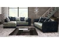 ** 1 YEAR WARRANTY** BRAND NEW JULIE CRUSH VELVET CORNER SOFA OR 3+2 ON SPECIAL OFFER