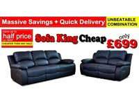 Brand NewBlack Leather Recliner Sofa At Less Than Half Price - Sofa King Quick Delivery