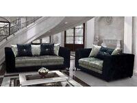 Crushed velvet brand new sofas