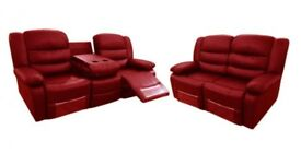 LUXURY JANE BONDED LEATHER RECLINER SOFA SETS WITH PULL DOWN CUP HOLDERS !