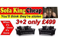 ONLY £499 For The Argyle Black-Grey 3+2 set with FREE 12 Months Warranty - Sofa King Stunning