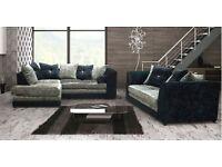 14 DAYS MONEY BACK GUARANTEE ** Dylan CRUSH VELVET ** Corner / 3+2 Seater Sofa Set - Brand New -