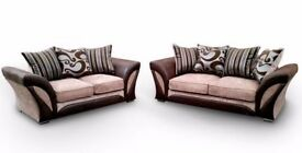 SUPERB BLACK/GREY OR BROWN/BEIGE- BRAND NEW SHANNON CORNER OR 3+2 SOFA in LEATHER & CHENILLE FABRIC,