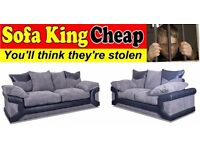 NEW BALMORAL 3+2 BLACK & GREY SOFA SET - WHOLESALE PRICES DIRECT TO THE PUBLIC - SOFA KING CHEAP