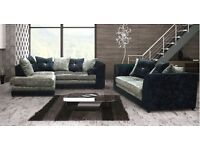 // 14 DAYS MONEY // BACK GUARANTEE // DYLAN CRUSH VELVET CORNER/3+2 SOFA SET - ( DOUBLE PADDED )