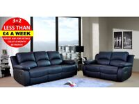 Half Price - Quick Delivery - Pay Monthly - Brand New Black Leather Recliner Sofa