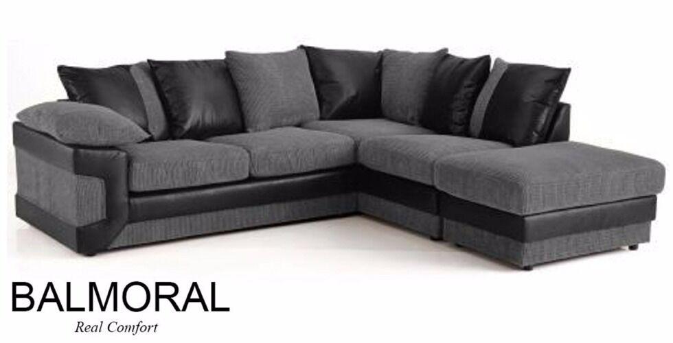 Huge Sale New Balmoral Corner Group Sofa Fabric U0026 Faux Leather Black Grey  Sofa King Cheap