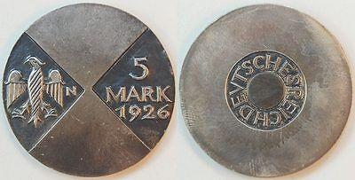 Weimar 5 Mark 1926 Motivprobe in Silber, VS und RS neues Design vz