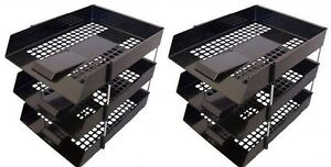 6 BLACK A4 Letter Filing In Out Desk Trays +Risers Stacking Paper Office