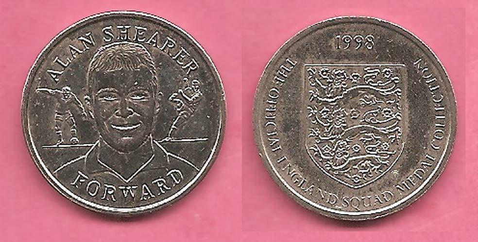 Alan Shearer, England World Cup 1998 Sainsburys football coin / token / medal.